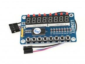 Ovládací panel TM1638 s kabelem - displej, LED, tlačítka
