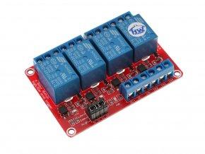 4 x relé modul s optočlenem 5VDC / 250VAC / 10A nastavitelná úroveň napětí