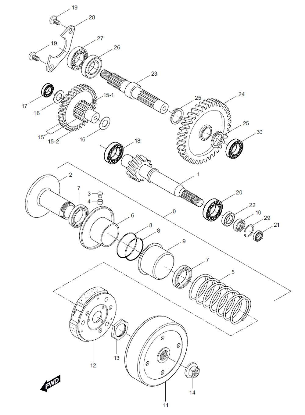 FIG11 Převodovka a odstředivá spojka
