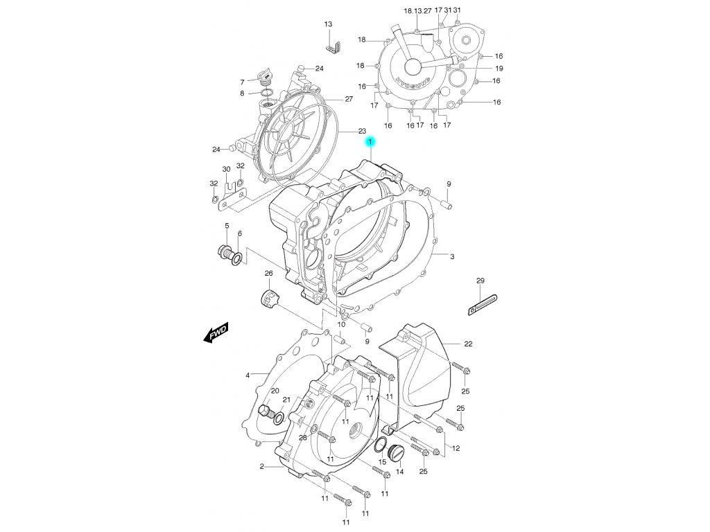 [1] Boční kryt motoru / černý (FIG05) - Hyosung GT 650 S & R