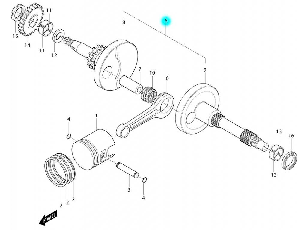 [5] Klikový hřídel kompletní (FIG06) - Hyosung MS3 125i