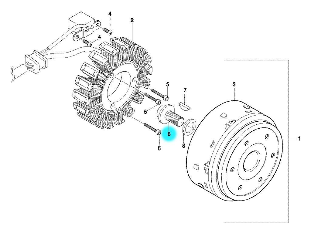 [6] Šroub (alternátor) - Hyosung GT 650 N