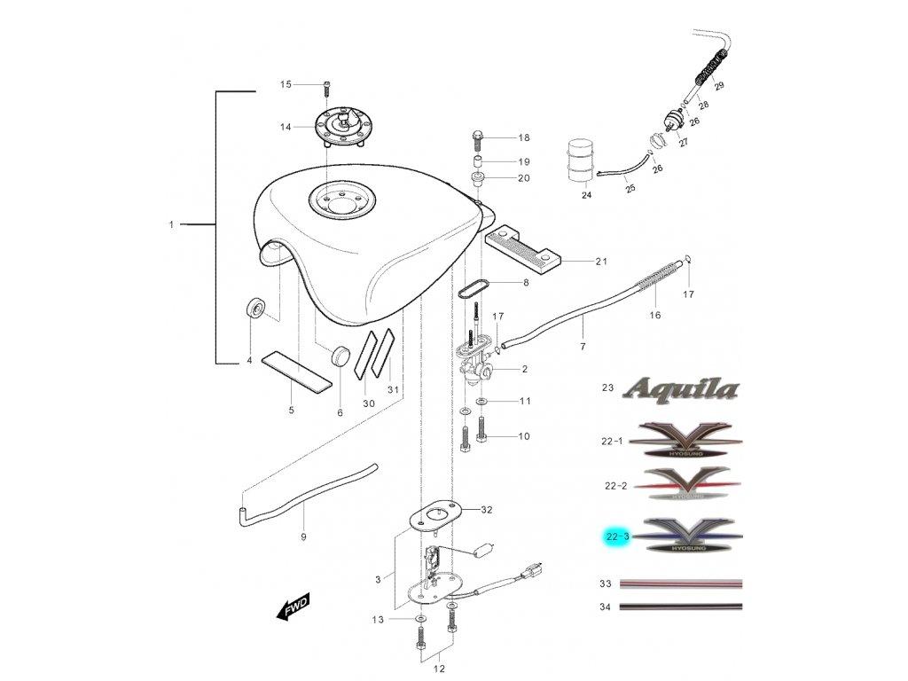 [22-3] Samolepa (palivová nádrž) - Hyosung GV 250