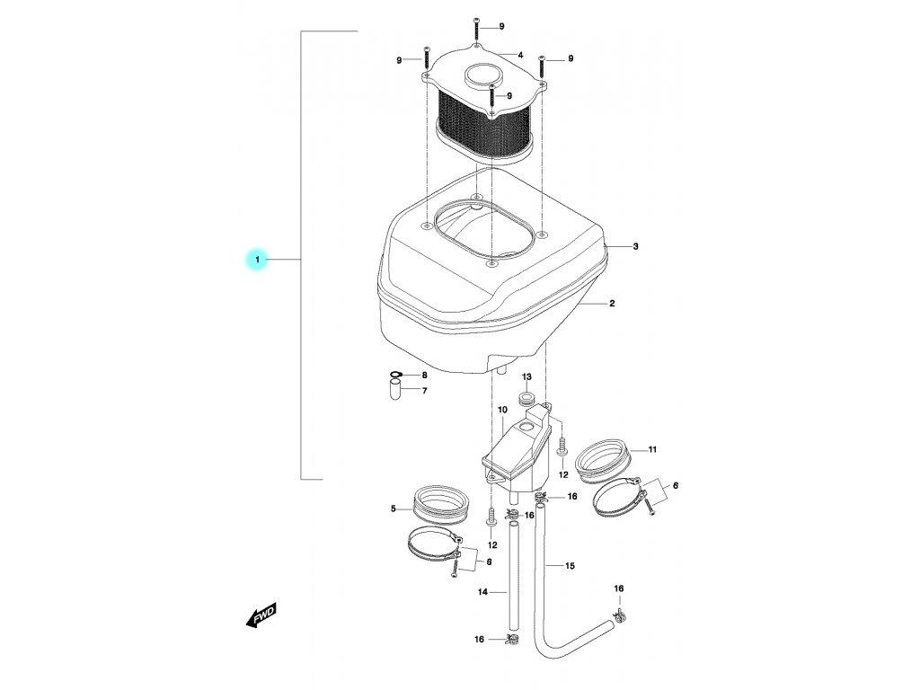 [1] Komora vzduchového filtru kompletní (vzduchový filtr) - Hyosung GT 650 N