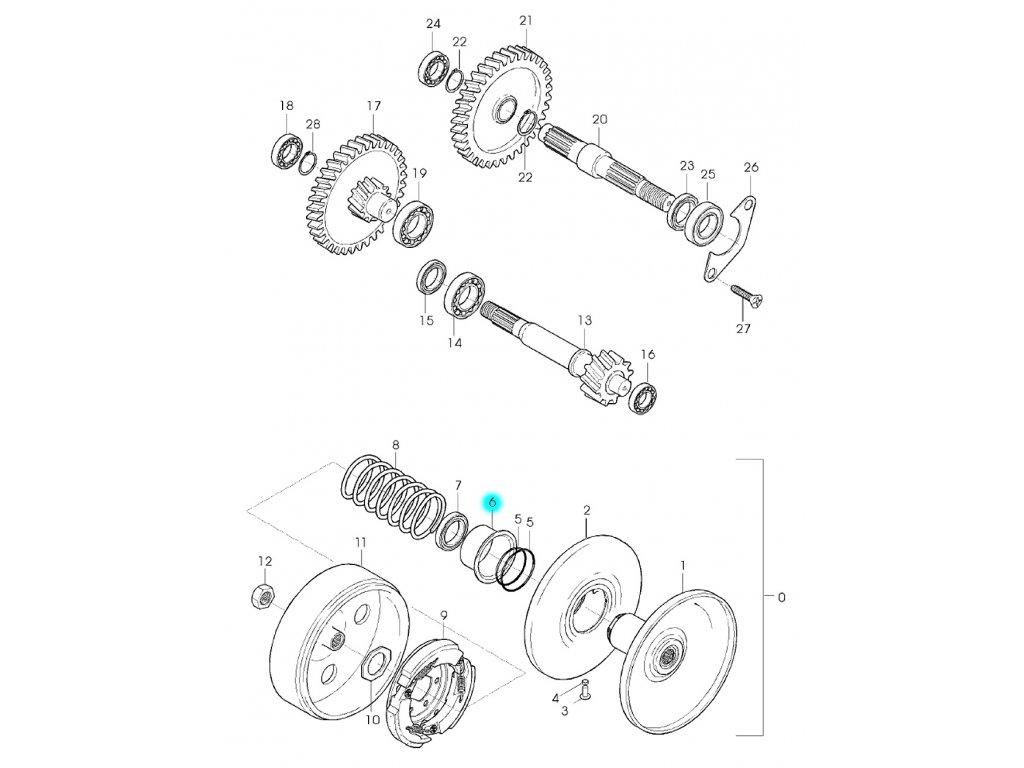 [6] Sedlo pružiny (převodovka a odstředivá spojka) - Hyosung GPS 125 Hyper / Grand Prix
