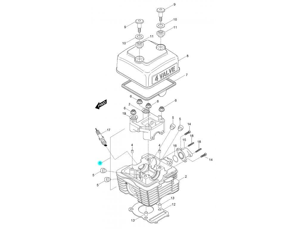 [1] Hlava válce vč. pouzdra vačkového hřídele / EURO 2 (FIG01) - Hyosung RX 125
