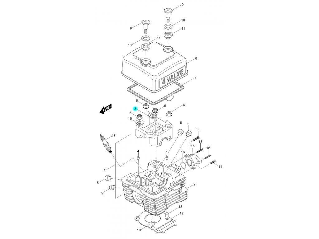 [3] Pouzdro vačkového hřídele (hlava válce a kryt ventilů) - Hyosung RX 125