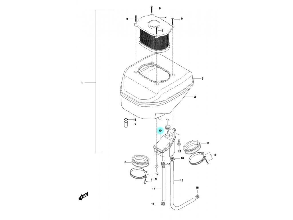 [10] Nádobka odvzdušnění oleje (vzduchový filtr) - Hyosung GT 650 N