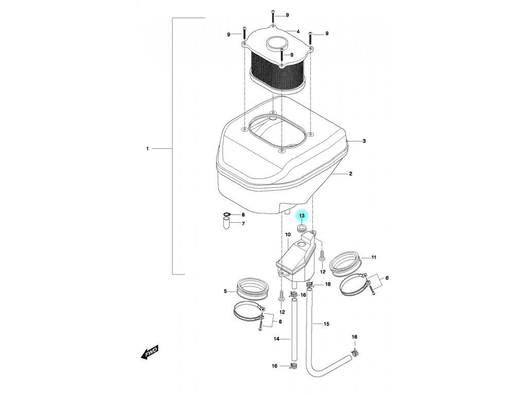 [13] Kroužek gumový (vzduchový filtr) - Hyosung GT 650 N