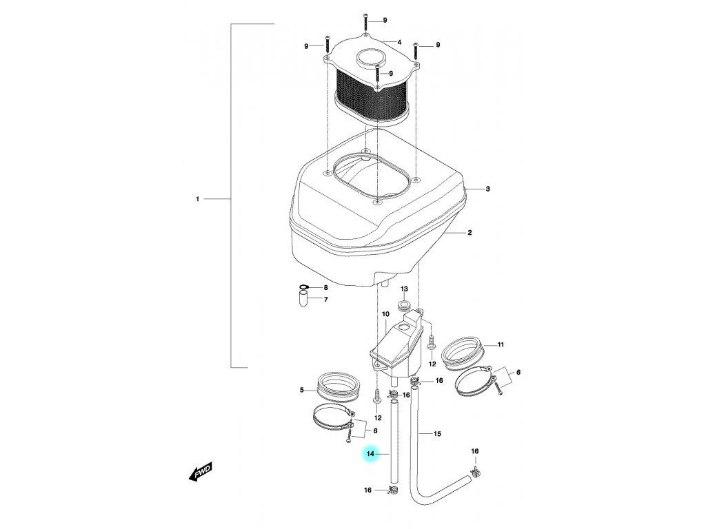 [14] Hadice (vzduchový filtr) - Hyosung GT 650 N