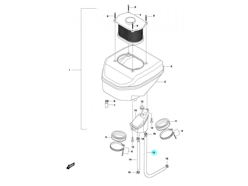 [15] Hadice (vzduchový filtr) - Hyosung GT 650 N