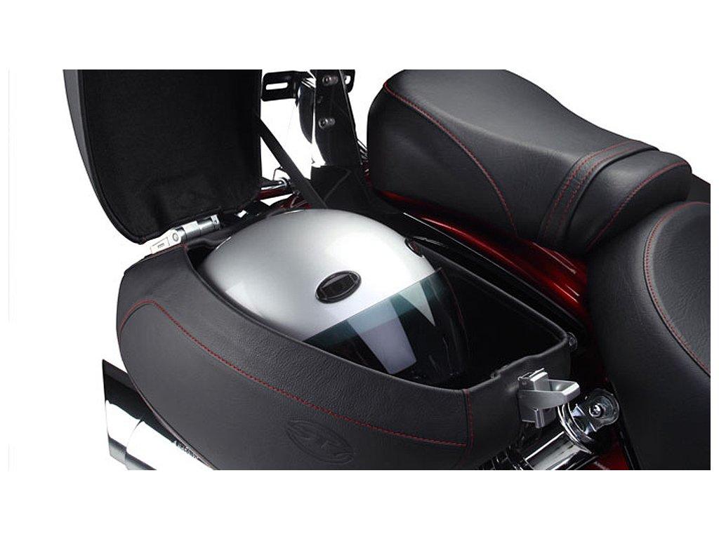 Boční moto kufry uzamykatelné DELUXE potažené kůží, 19 litrů / sada (Hyosung ST 700i)