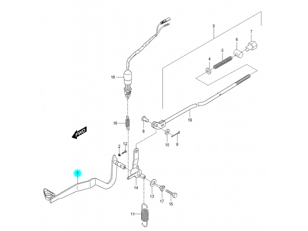 [1] Pedál brzdový (brzdový pedál a táhlo) - Hyosung RX 125