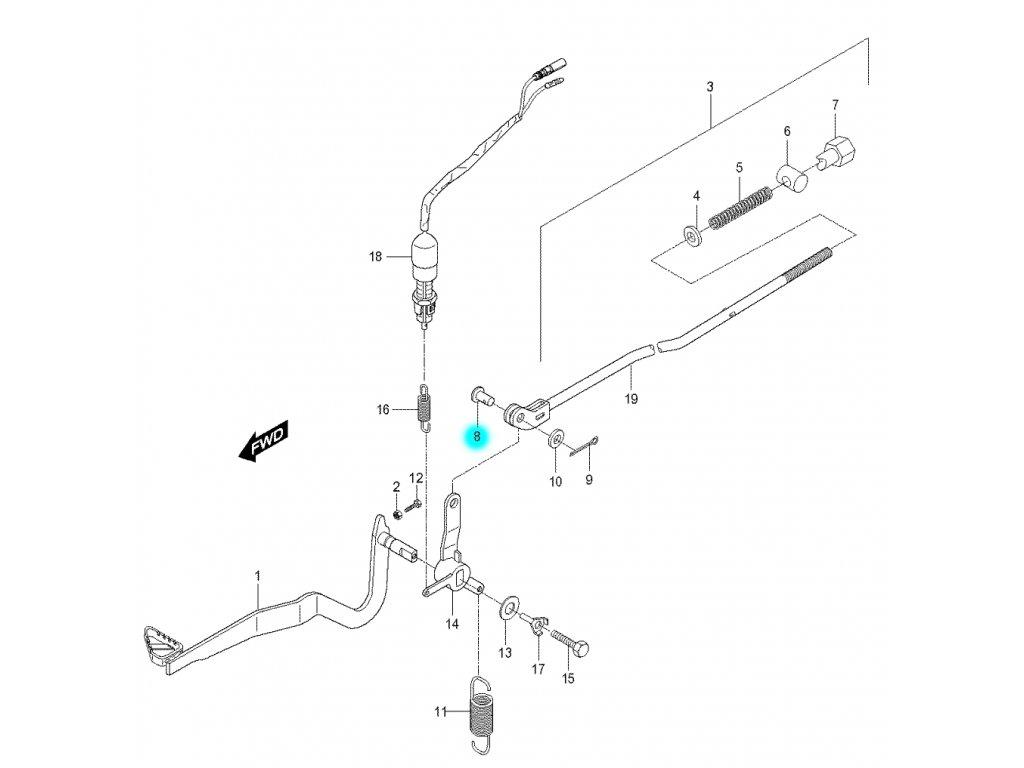 [8] Kolík (brzdový pedál a táhlo) - Hyosung RX 125