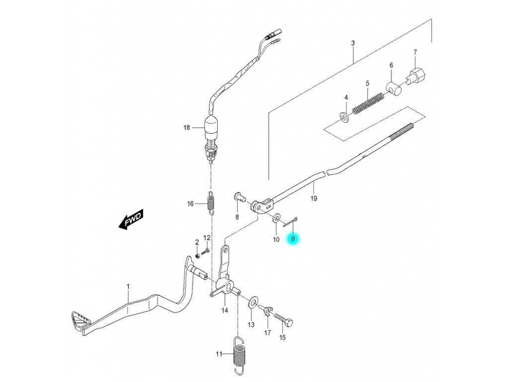 [9] Závlačka pojistná (brzdový pedál a táhlo) - Hyosung RX 125