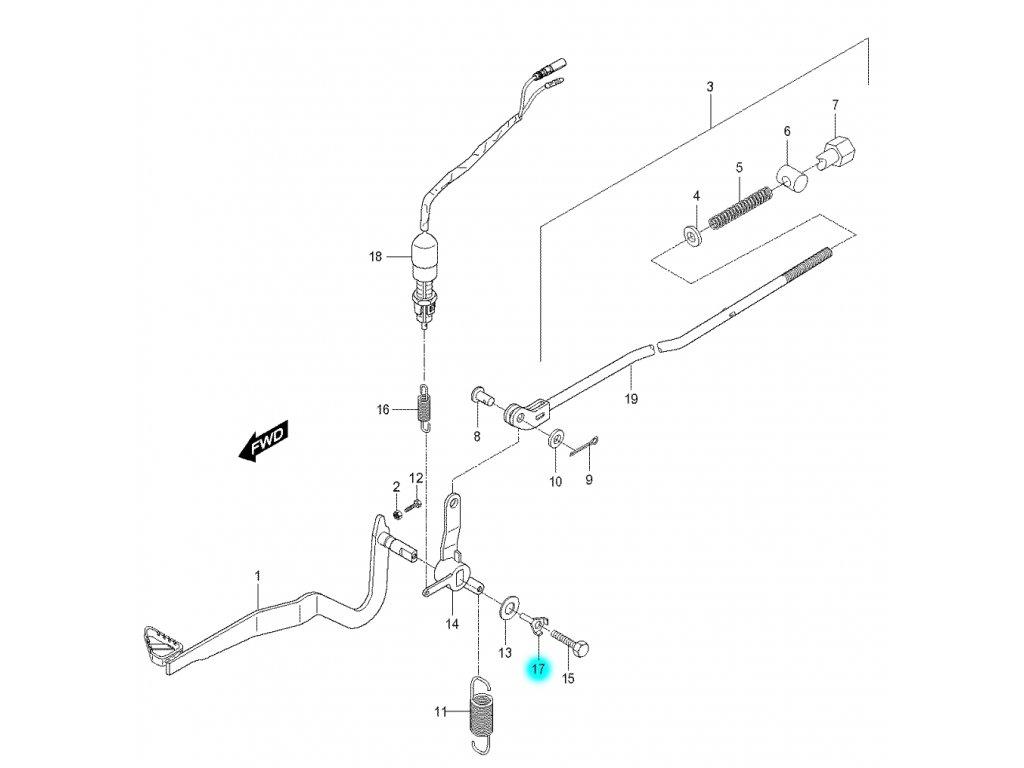 [17] Podložka jistící (brzdový pedál a táhlo) - Hyosung RX 125