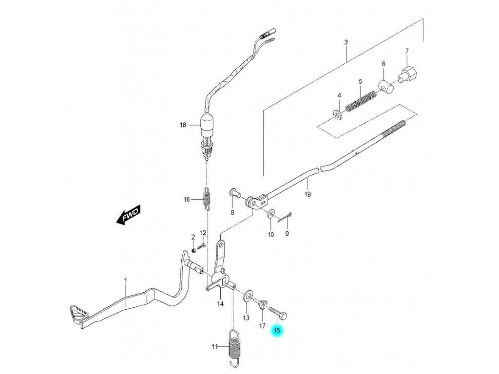[15] Šroub (brzdový pedál a táhlo) - Hyosung RX 125