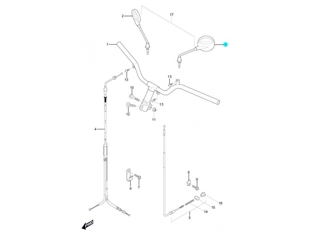[3] Zrcátko levé (FIG31) - Hyosung SF 50 (PRIMA)