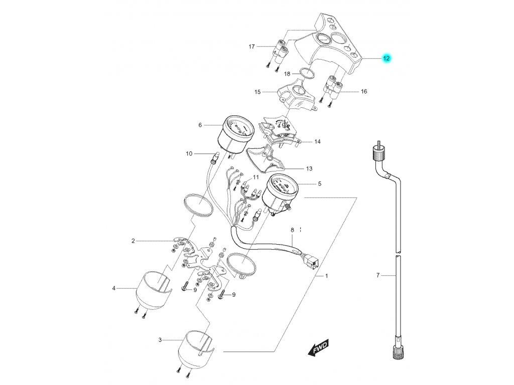 [12] Vrchní kryt (tachometr) - Hyosung GT 125 N