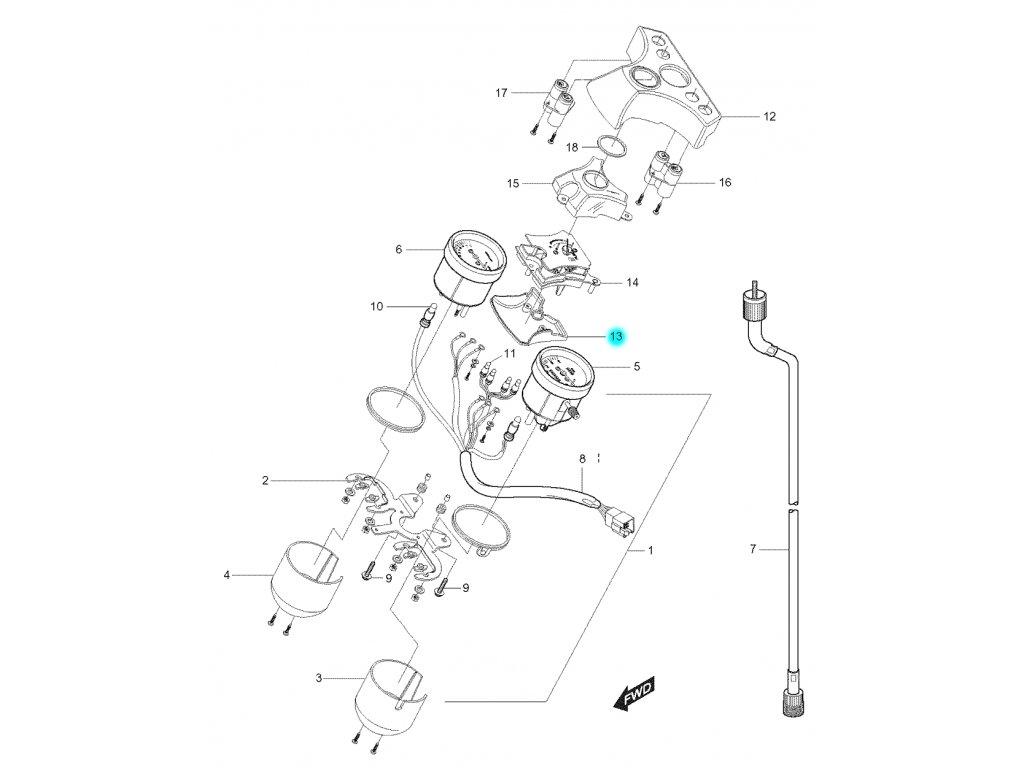[13] Spodní kryt (tachometr) - Hyosung GT 125 N