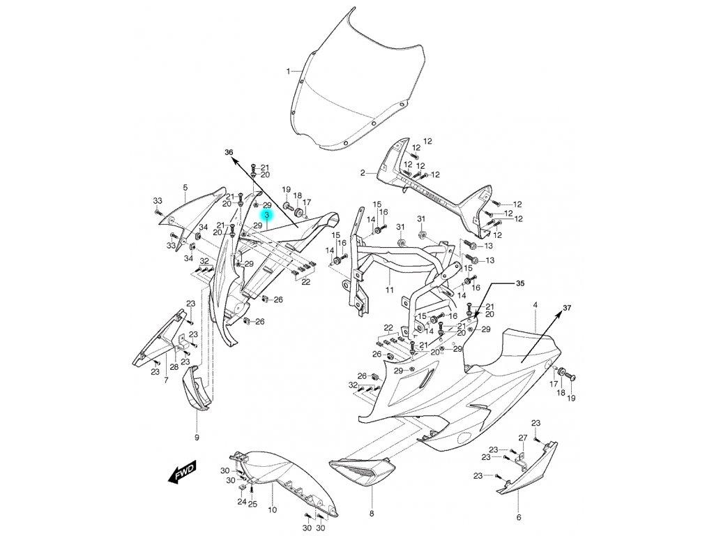 [3] Kapota přední pravá / stříbrná (kapotáž přední horní) - Hyosung GT 650 S & R
