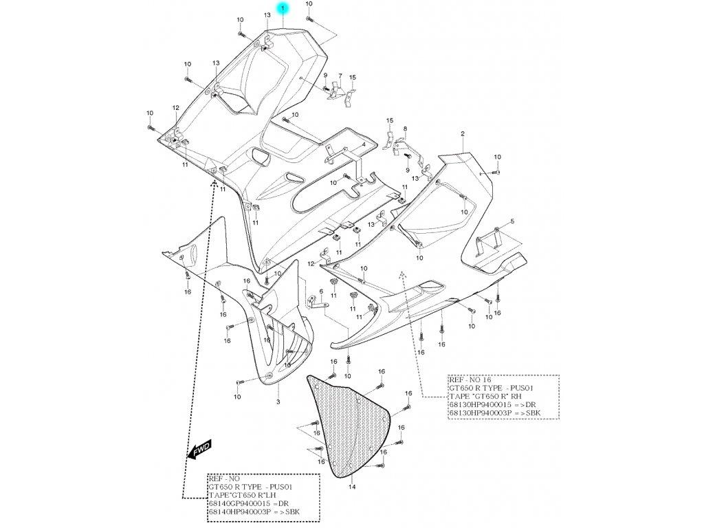 [1] Kapota přední pravá / žlutá (kapotáž přední spodní) - Hyosung GT 650 S & R
