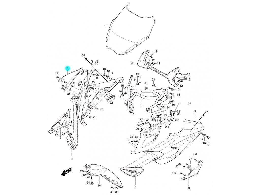 [5] Kapota přední pravá / červená (FIG36) - Hyosung GT 650 S & R