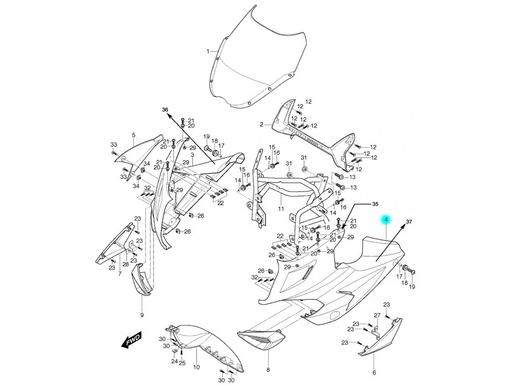 [4] Kapota přední levá / stříbrná (kapotáž přední horní) - Hyosung GT 650 S & R