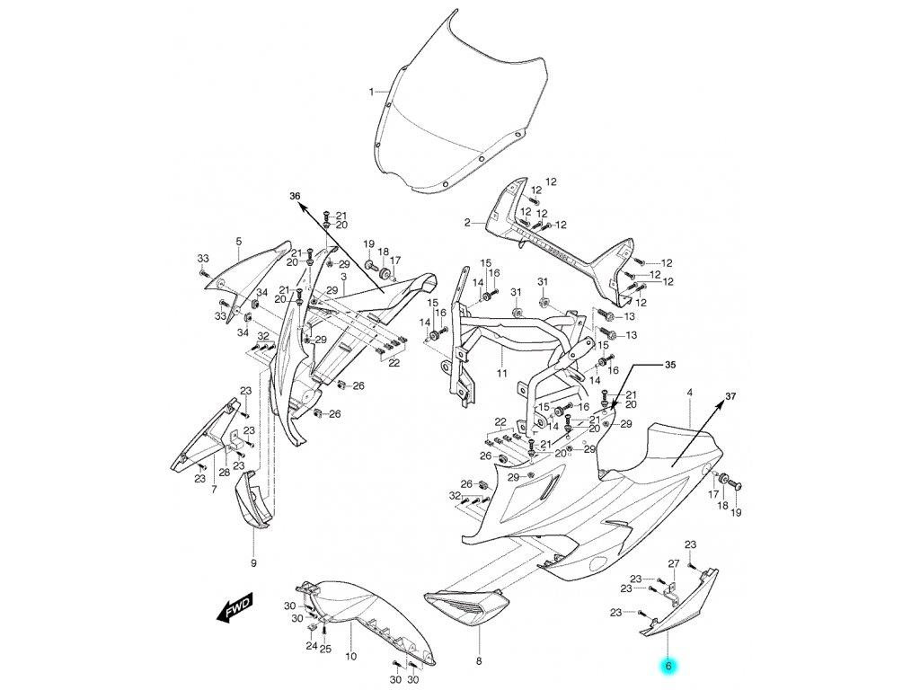 [6] Kapota přední levá / stříbrná (kapotáž přední horní) - Hyosung GT 650 S & R