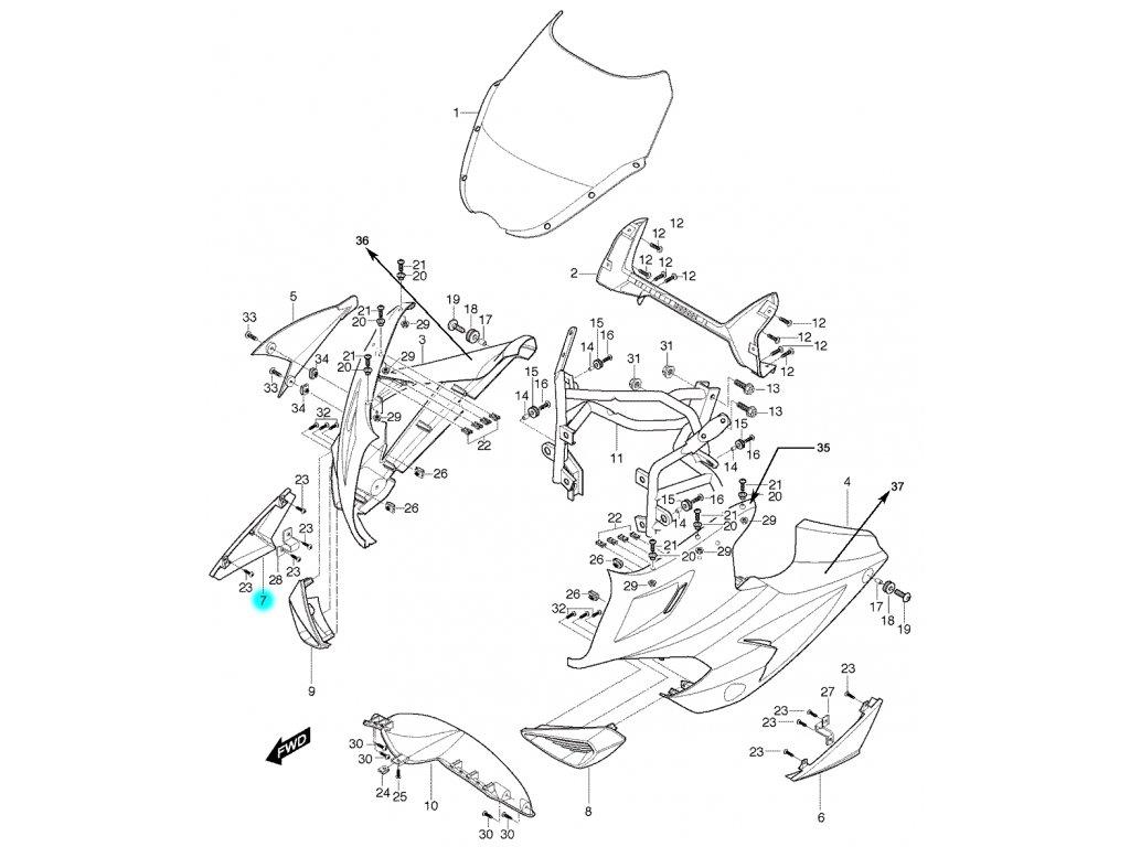 [7] Kapota přední pravá / stříbrná (kapotáž přední horní) - Hyosung GT 650 S & R