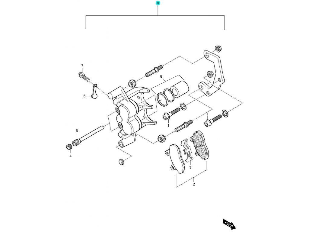 [0] Brzdový třmen zadní kompletní / nová verze (FIG52