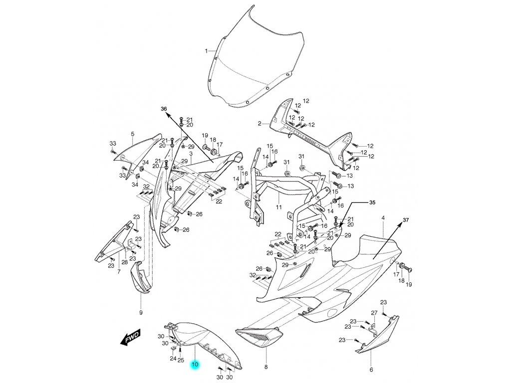 [10] Kapota přední střední / stříbrná (FIG36) - Hyosung GT 650 S & R