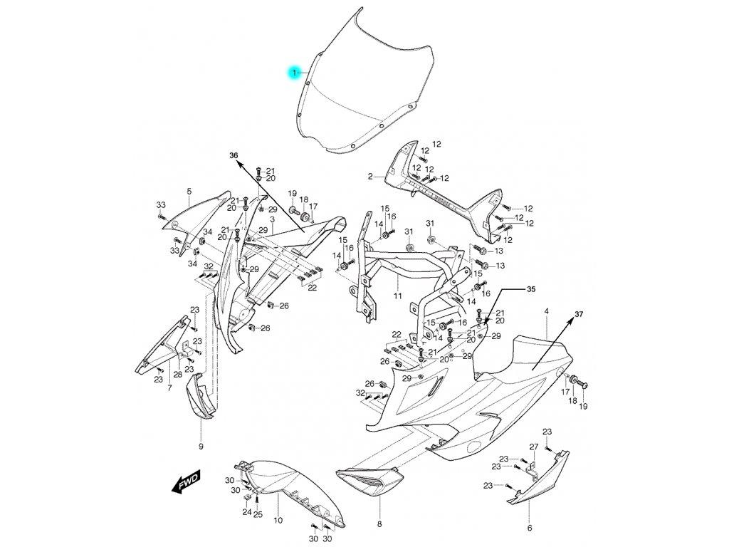 [1] Přední plexi pro klasická řidítka (kapotáž přední horní) - Hyosung GT 650 S & R