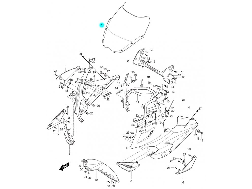 [1] Přední plexi kompletní / černé (FIG36) - Hyosung GT 650 S & R