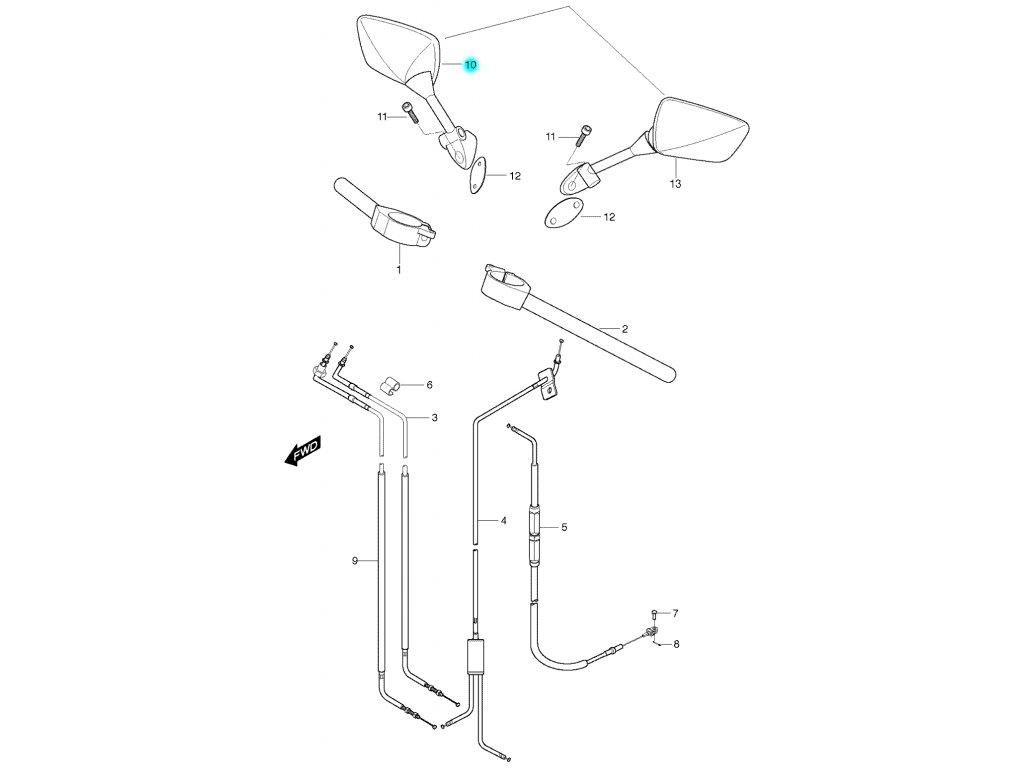 [10] Zrcátko pravé (řidítka, zrcátka & bowdeny) - Hyosung GT 650 S & R