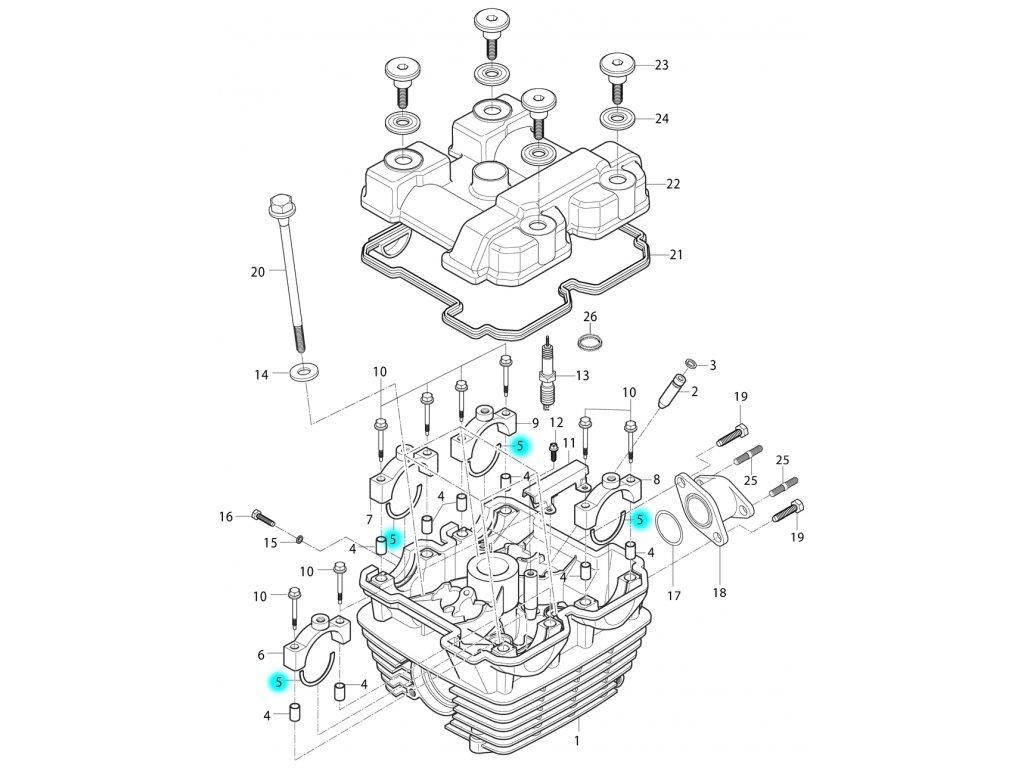 [5] C-kroužek (hlava válce a kryt ventilů) - Hyosung RT 125 D E3