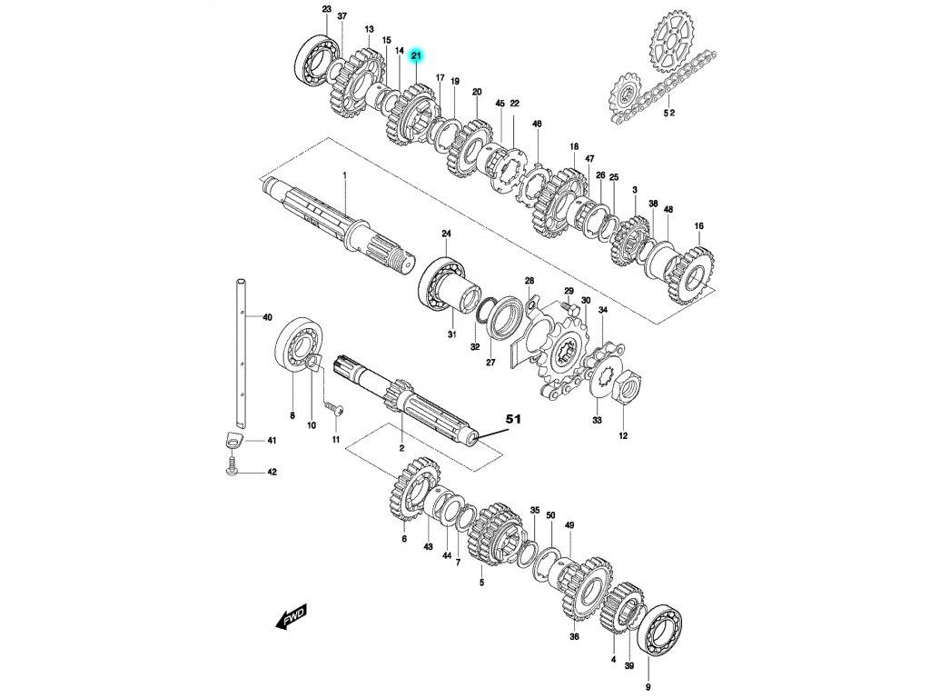 [21] Ozubené kolo / 5 rychlostní stupeň (převodovka