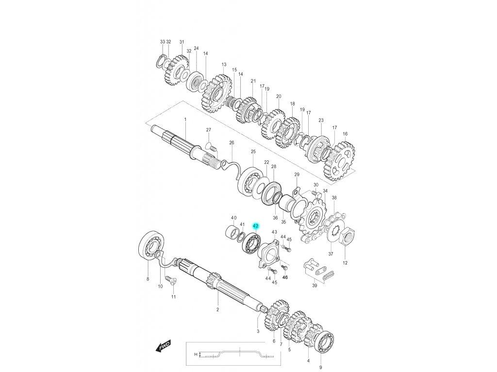 [42] Ložisko (převodovka) - Hyosung RT 125