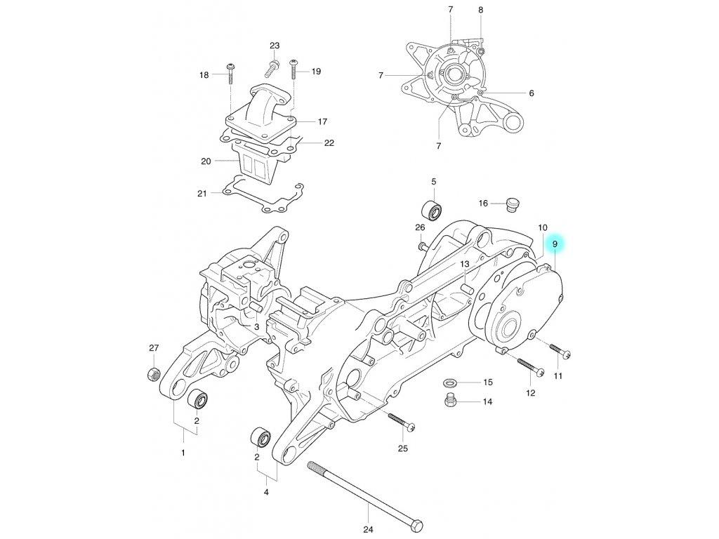 [9] Boční kryt převodovky (kliková skříň) - Hyosung SB 50 M (CAB)