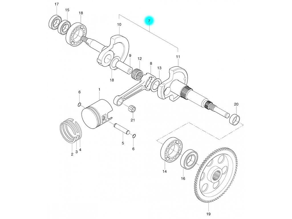 [7] Kliková hřídel kompletní (FIG04) - Hyosung SB 50 M (CAB)