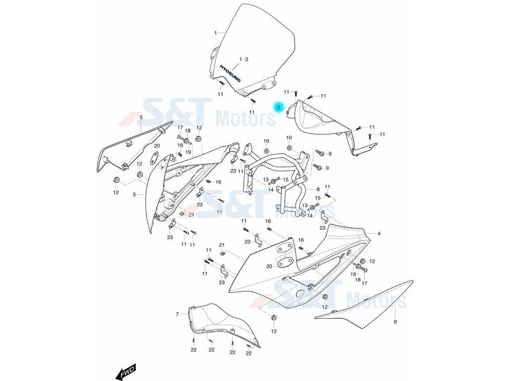 [2] Panel tachometru (kapotáž přední horní) - Hyosung GT 650i R K (GT 650 RC)
