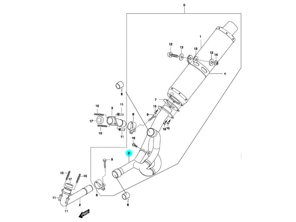 [5] Potrubí výfuku střední (výfuk) - Hyosung GT 650 N