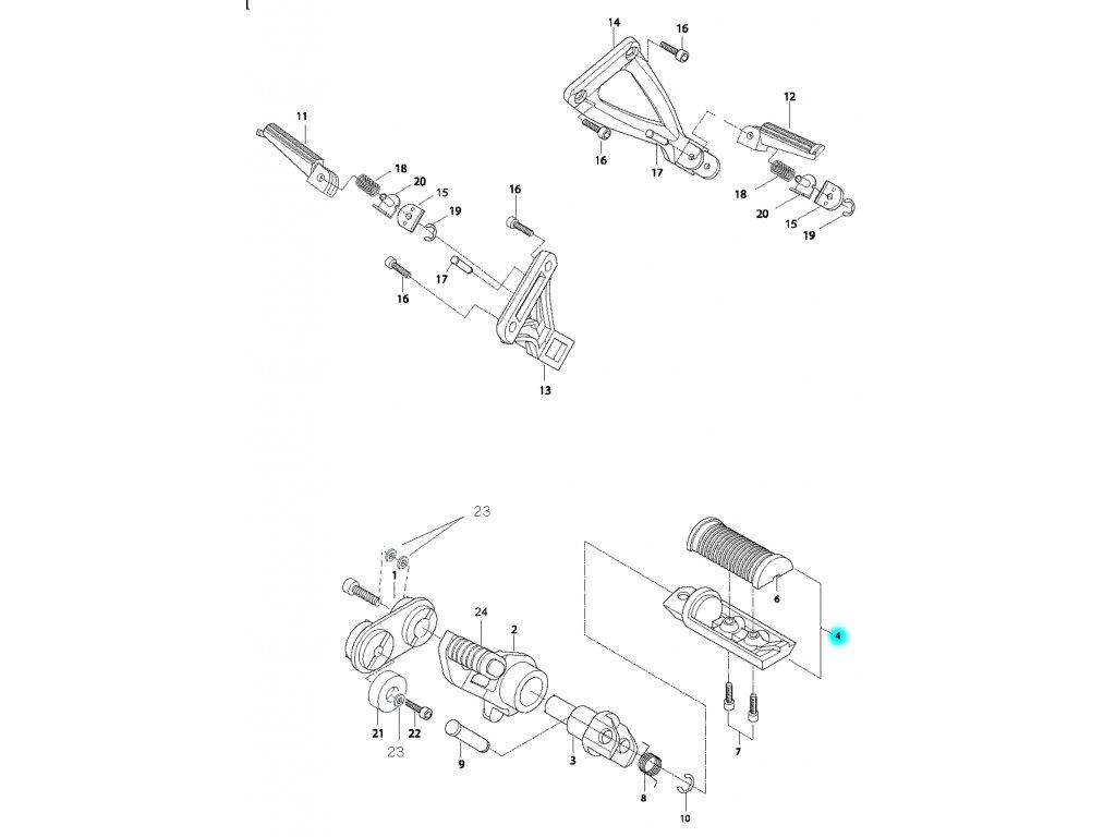 [4] Stupačka přední levá kompletní (řadící páka & stupačky