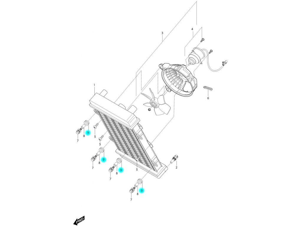[9] Silenblok (chladič a ventilátor) - Hyosung GV 650i P