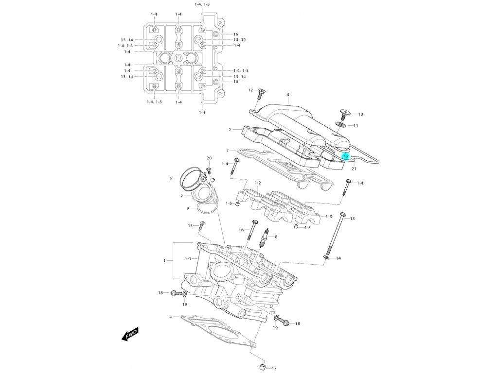 [22] Těsnící O-kroužek (hlava zadního válce) - Hyosung GV 650i E