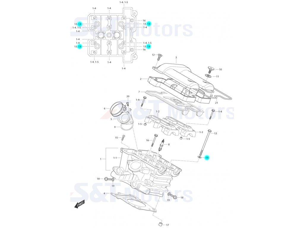 [14] Podložka (hlava zadního válce) - Hyosung ST 700i