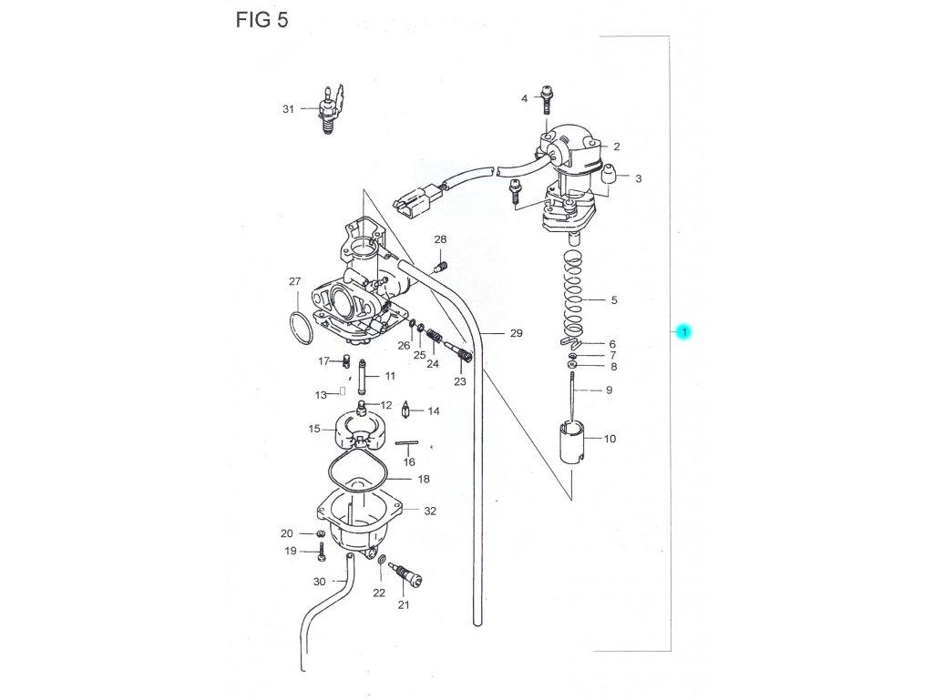 [1] Karburátor kompletní (FIG05) - Hyosung SB 50 (RUSCH)
