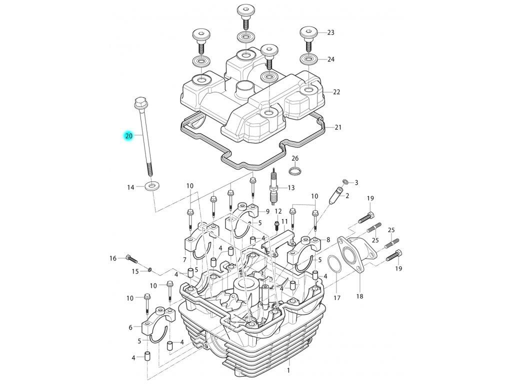 [20] Šroub (hlava válce a kryt ventilů) - Hyosung RT 125 D E3