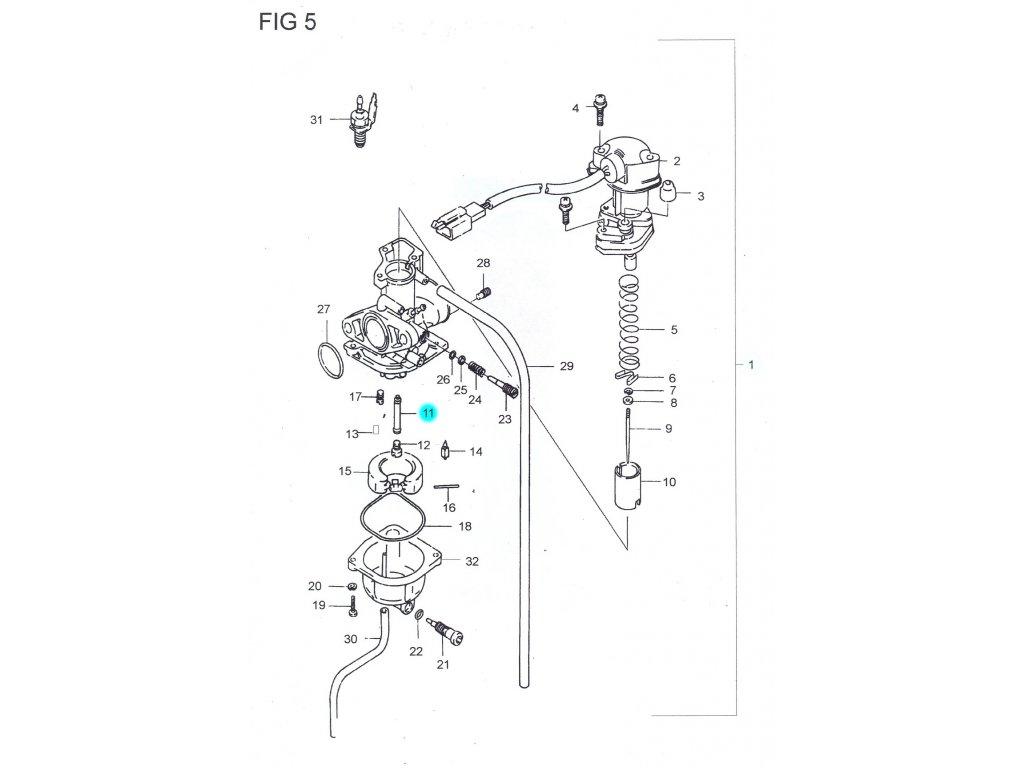 [11] Tryska jehly (karburátor) - Hyosung SB 50 (RUSCH) 1995 - 1996