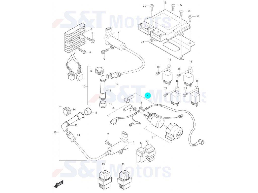 [4] Elektrický kabel ke startéru (elektrické jednotky) - Hyosung ST 700i